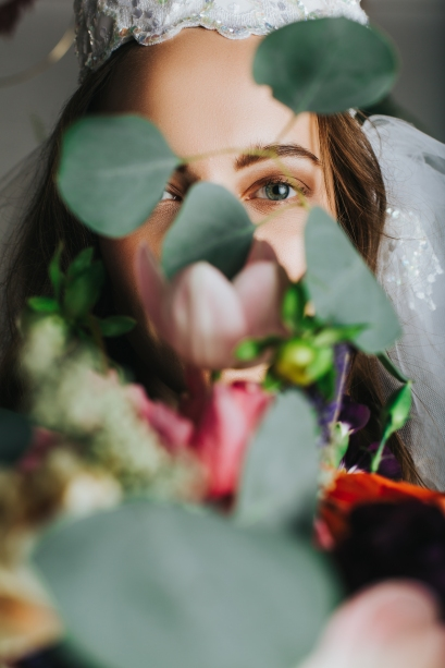 Vintage wedding dress fashtion assignment. Photographers/Art Directors: Danika Lee and Rebekah McNeilly. Producer: Johnny Liu. Models: Mary Arbolcha, and Kristina Terentyeva. MUA: Makenzie Shooter of MSM Artisty. Florist: Estefani Alvarenga of De Le Flore.